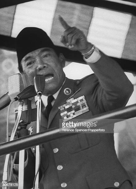 President Sukarno speaking at celebration of Indonesian takeover of former Dutch Colony facilitated by the UN