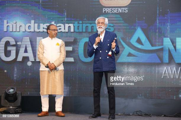 President Sunil Sethi and Sports Minister Vijay Goel during the Hindustan Times Game Changer Awards 2017 at Hotel Oberoi on May 24 2017 in Gurgaon...