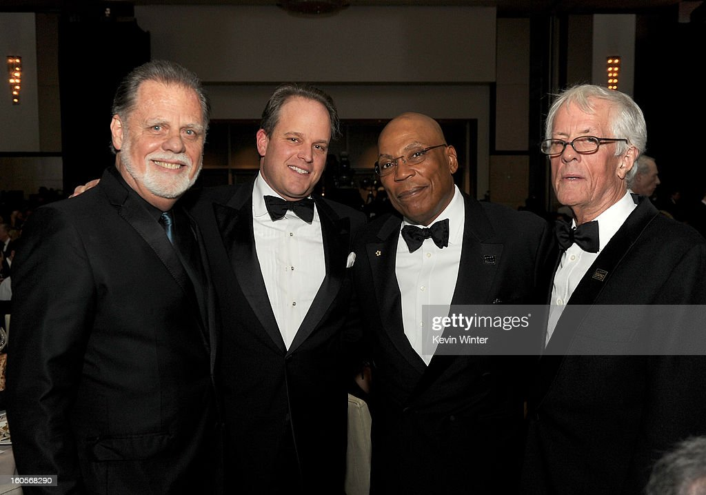 DGA President <a gi-track='captionPersonalityLinkClicked' href=/galleries/search?phrase=Taylor+Hackford&family=editorial&specificpeople=202623 ng-click='$event.stopPropagation()'>Taylor Hackford</a>, DGA Awards Chair <a gi-track='captionPersonalityLinkClicked' href=/galleries/search?phrase=Michael+Stevens+-+Producer&family=editorial&specificpeople=15129656 ng-click='$event.stopPropagation()'>Michael Stevens</a>, director <a gi-track='captionPersonalityLinkClicked' href=/galleries/search?phrase=Paris+Barclay&family=editorial&specificpeople=792316 ng-click='$event.stopPropagation()'>Paris Barclay</a>, and Robert Aldrich Award honoree <a gi-track='captionPersonalityLinkClicked' href=/galleries/search?phrase=Michael+Apted&family=editorial&specificpeople=211167 ng-click='$event.stopPropagation()'>Michael Apted</a> attend the 65th Annual Directors Guild Of America Awards at Ray Dolby Ballroom at Hollywood & Highland on February 2, 2013 in Los Angeles, California.