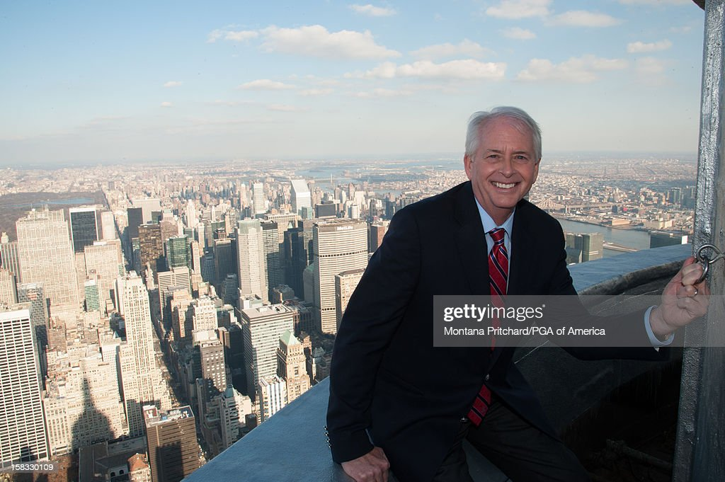 PGA President Ted Bishop smiles for the media on the 103rd floor of the Empire State Building after the US Ryder Cup Captain Announcement Press Conference at the Empire State Building on December 13, 2012 in New York City.