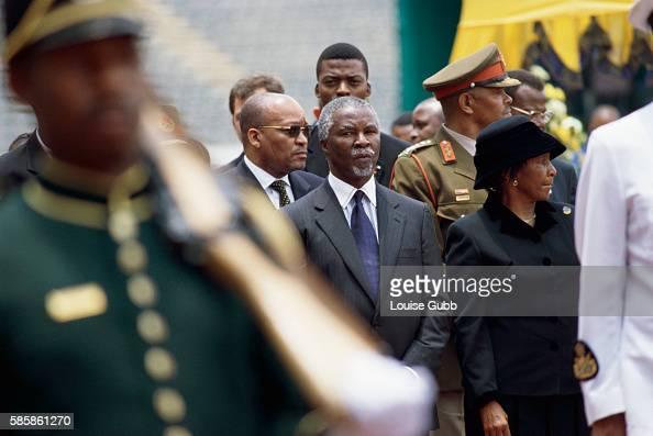 President Thabo Mbeki attending the funeral of former defence minister Joe Modise in Johannesburg South Africa