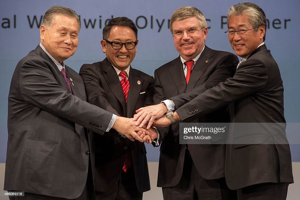 President, The Tokyo Organizing Committee of the Olympic and Paralympic Games, Mr <a gi-track='captionPersonalityLinkClicked' href=/galleries/search?phrase=Yoshiro+Mori&family=editorial&specificpeople=217562 ng-click='$event.stopPropagation()'>Yoshiro Mori</a>, President and CEO of Toyota Motor Corporation, <a gi-track='captionPersonalityLinkClicked' href=/galleries/search?phrase=Akio+Toyoda&family=editorial&specificpeople=2334399 ng-click='$event.stopPropagation()'>Akio Toyoda</a>, President of the International Olympic Committee <a gi-track='captionPersonalityLinkClicked' href=/galleries/search?phrase=Thomas+Bach&family=editorial&specificpeople=610149 ng-click='$event.stopPropagation()'>Thomas Bach</a> and IOC Member, IOC Marketing Commission Chairman, President, Japanese Olympics Committee Mr. <a gi-track='captionPersonalityLinkClicked' href=/galleries/search?phrase=Tsunekazu+Takeda&family=editorial&specificpeople=2574573 ng-click='$event.stopPropagation()'>Tsunekazu Takeda</a> pose for photographers during a news conference at the Imperial Hotel on March 13, 2015 in Tokyo, Japan. Toyota Motor Co. signed with IOC to join The Olympic Partner Programme (TOP).