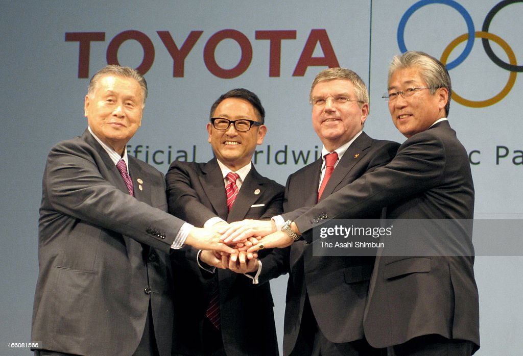 President, The Tokyo Organizing Committee of the Olympic and Paralympic Games, <a gi-track='captionPersonalityLinkClicked' href=/galleries/search?phrase=Yoshiro+Mori&family=editorial&specificpeople=217562 ng-click='$event.stopPropagation()'>Yoshiro Mori</a>, President and CEO of Toyota Motor Corporation, <a gi-track='captionPersonalityLinkClicked' href=/galleries/search?phrase=Akio+Toyoda&family=editorial&specificpeople=2334399 ng-click='$event.stopPropagation()'>Akio Toyoda</a>, President of the International Olympic Committee <a gi-track='captionPersonalityLinkClicked' href=/galleries/search?phrase=Thomas+Bach&family=editorial&specificpeople=610149 ng-click='$event.stopPropagation()'>Thomas Bach</a> and IOC Member, IOC Marketing Commission Chairman, President, Japanese Olympics Committee <a gi-track='captionPersonalityLinkClicked' href=/galleries/search?phrase=Tsunekazu+Takeda&family=editorial&specificpeople=2574573 ng-click='$event.stopPropagation()'>Tsunekazu Takeda</a> pose for photographers during a news conference at the Imperial Hotel on March 13, 2015 in Tokyo, Japan. Toyota Motor Co. signed with IOC to join The Olympic Partner Programme
