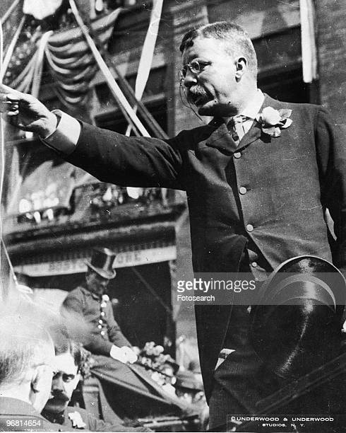 President Theodore Roosevelt addressing a crowd of people circa 1901