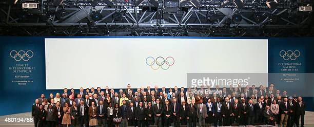 President Thomas Bach and HSH Prince Albert II of Monaco pose with the Committee members at the end of the IOC session during the 127th IOC Session...
