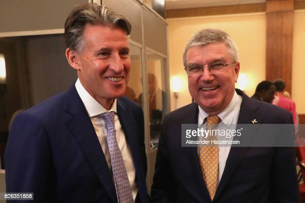 President Thomas Bach and IAAF President Sebastian Coe attend a meeting between the IAAF Council and IOC Executive Board at Ballroom Marriott West...