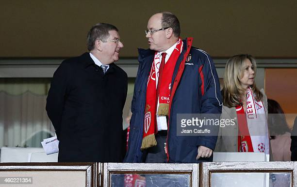 President Thomas Bach and Prince Albert II of Monaco attend the UEFA Champions League Group C match between AS Monaco FC and FC Zenit SaintPetersburg...