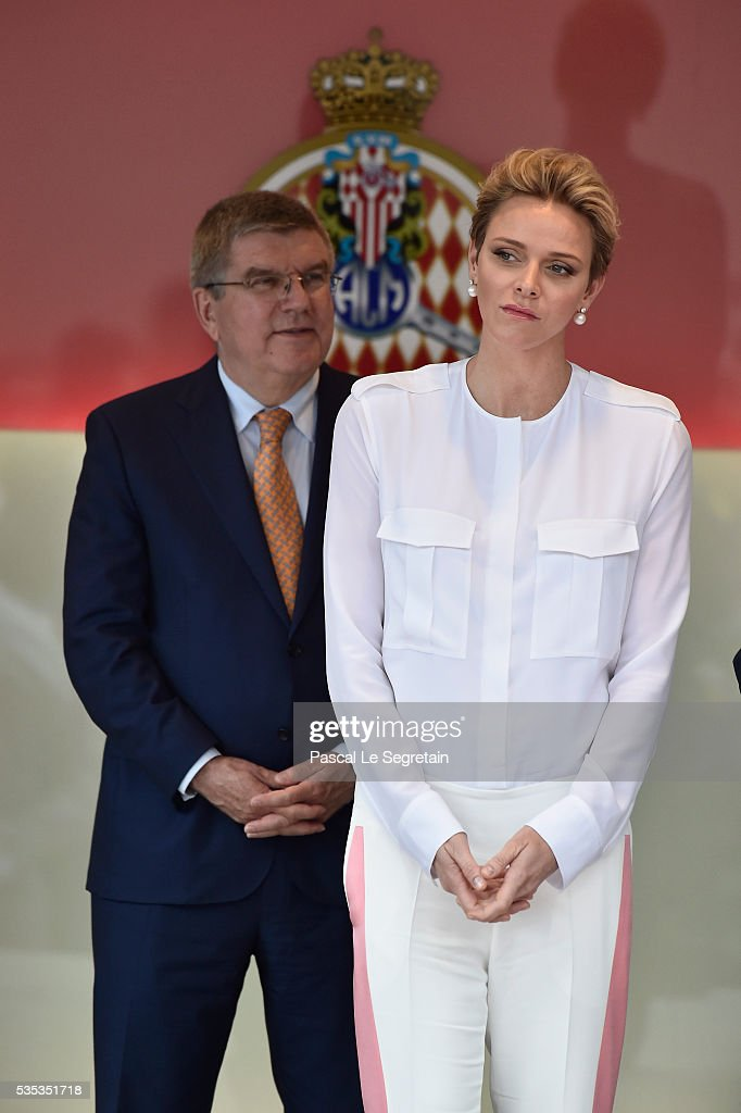 President <a gi-track='captionPersonalityLinkClicked' href=/galleries/search?phrase=Thomas+Bach&family=editorial&specificpeople=610149 ng-click='$event.stopPropagation()'>Thomas Bach</a> and Princess Charlene of Monaco attend the F1 Grand Prix of Monaco on May 29, 2016 in Monte-Carlo, Monaco on May 29, 2016 in Monte-Carlo, Monaco.