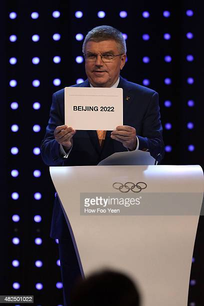IOC president Thomas Bach announces Beijing as the host city for the 2022 Winter Olympics during the Announcement Ceremony at the 128th IOC Session...