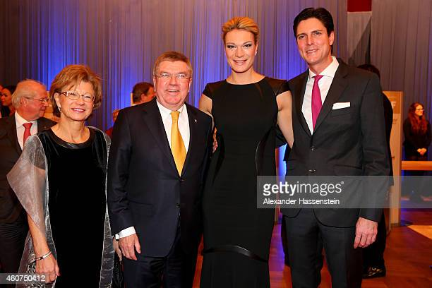 President Thomas Bach attend with Claudia Bach Maria HoeflRiesch and Markus HoeflRiesch the Sportler des Jahres 2014 gala at the Kurhaus BadenBaden...