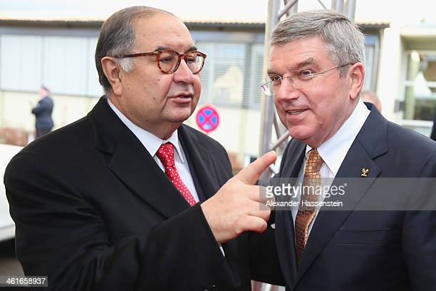 President Thomas Bach attends with Alisher Usmanov President of the International Fencing Federation the IOC President Thomas Bach's 60th Birthday...