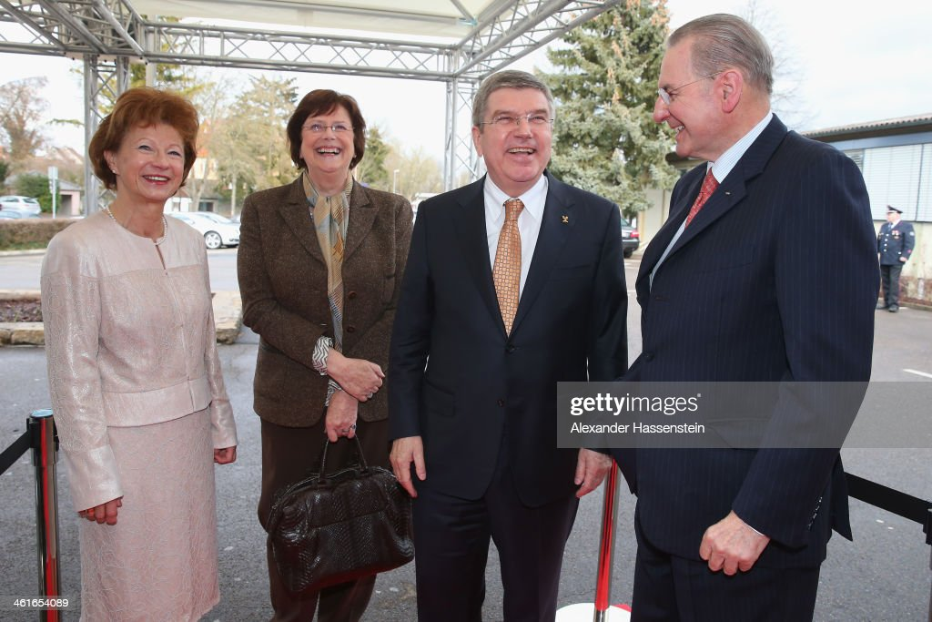 President <a gi-track='captionPersonalityLinkClicked' href=/galleries/search?phrase=Thomas+Bach&family=editorial&specificpeople=610149 ng-click='$event.stopPropagation()'>Thomas Bach</a> attends with his wife Claudia Bach (L), IOC Honory President Jaques Rogge (R) and <a gi-track='captionPersonalityLinkClicked' href=/galleries/search?phrase=Anne+Rogge&family=editorial&specificpeople=710259 ng-click='$event.stopPropagation()'>Anne Rogge</a> (2nd L) the IOC President <a gi-track='captionPersonalityLinkClicked' href=/galleries/search?phrase=Thomas+Bach&family=editorial&specificpeople=610149 ng-click='$event.stopPropagation()'>Thomas Bach</a>'s 60th Birthday party at Stadthalle on January 10, 2014 in Tauberbischofsheim, Germany.