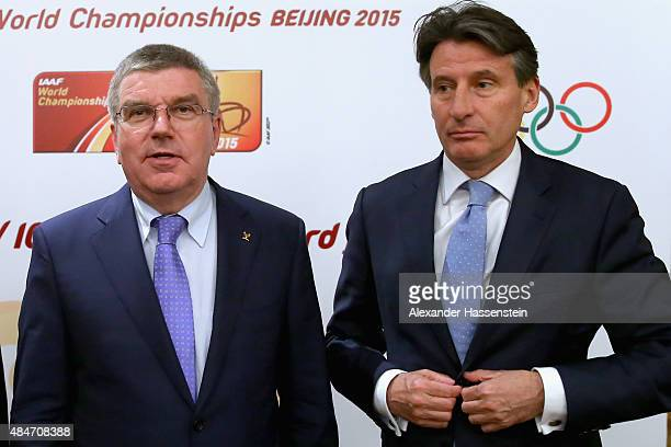 President Thomas Bach attends with Lord Sebastian Coe the IAAF Council and IOC Executive Board meeting at Intercontinental Beijing Beichen Hotel on...