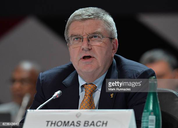 President Thomas Bach closing remarks during the fourth day of the 21st ANOC General Assembly at the Sheraton Grand Hotel on November 16 2016 in Doha...