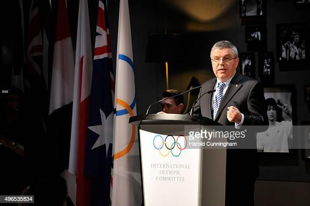 President Thomas Bach delivers a speech during the International Women In Sport Award at the Olympic Museum on November 10 2015 in Lausanne...