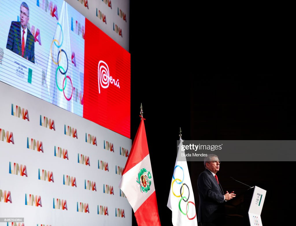 IOC President Thomas Bach delivers a speech during the Opening Ceremony of IOC Lima 2017 Session at Teatro Nacional de Lima on September 12, 2017 in Lima, Peru.