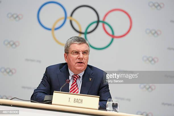 President Thomas Bach hold a press conference during the 127th IOC Session at the Grimaldi Forum on December 8 2014 in Monaco Monaco