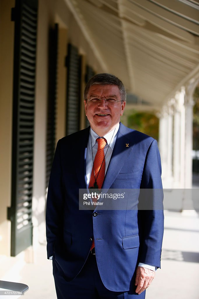 President <a gi-track='captionPersonalityLinkClicked' href=/galleries/search?phrase=Thomas+Bach&family=editorial&specificpeople=610149 ng-click='$event.stopPropagation()'>Thomas Bach</a> poses after being welcomed onto Olympic House with a traditional Maori Powhiri on May 5, 2015 in Auckland, New Zealand.