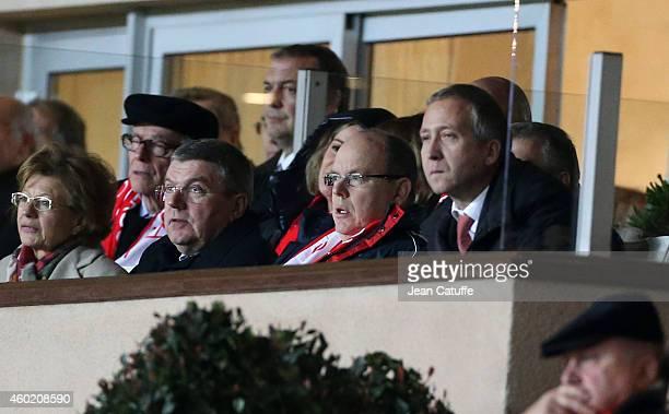 President Thomas Bach Prince Albert II of Monaco and AS Monaco vicePresident Vadim Vasilyev attend the UEFA Champions League Group C match between AS...