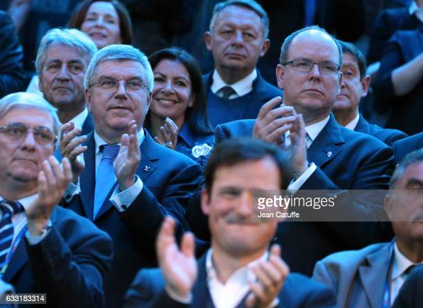President Thomas Bach Prince Albert II of Monaco the 25th IHF Men's World Championship 2017 Final between France and Norway at Accorhotels Arena on...