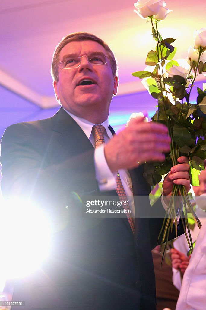 President <a gi-track='captionPersonalityLinkClicked' href=/galleries/search?phrase=Thomas+Bach&family=editorial&specificpeople=610149 ng-click='$event.stopPropagation()'>Thomas Bach</a> smiles during his 60th Birthday party at Stadthalle on January 10, 2014 in Tauberbischofsheim, Germany.