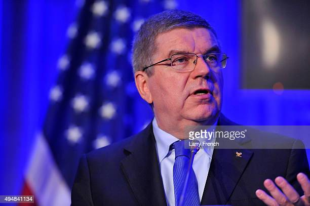 President Thomas Bach speaks at the the XX ANOC General Assembly 2015 at the Hilton Hotel on October 29 2015 in Washington DC