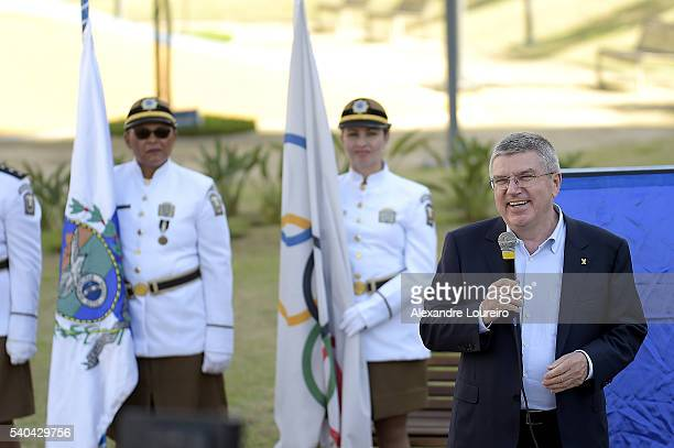 President Thomas Bach speaks during the event where the Mayor Eduardo Paes Delivery the Athletes Village to the Rio 2016 Committee on June 15 2016 in...