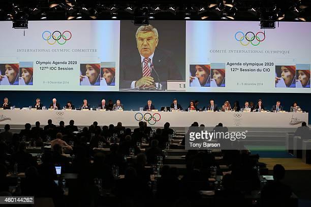 President Thomas Bach speaks to the Committee during board meeting with C Reedie J Rogge C DE Kepper N El Moutawakel J D Coates G Lindberg R Fasel...