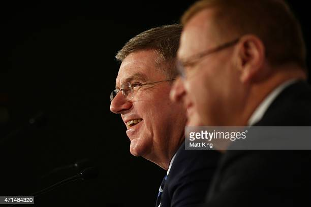 President Thomas Bach speaks to the media at a press conference next to AOC President John Coates at the Museum of Contemporary Art on April 29 2015...