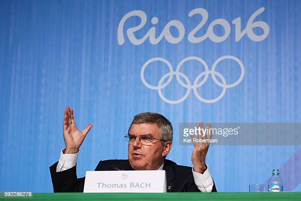 President Thomas Bach talks at a press conference at the Main Press Centre on August 20 2016 in Rio de Janeiro Brazil