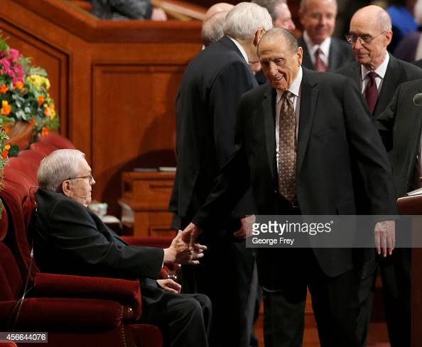 President Thomas Monson and President of the Quorum of the Twelve Apostles Boyd Packer shake hands before the first session of the 184th Semiannual...