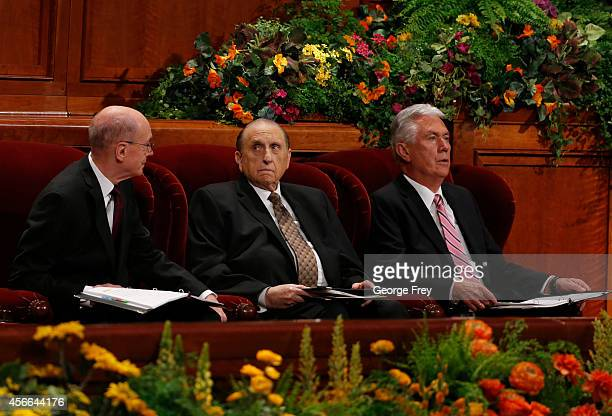 President Thomas Monson First Counselor Henry Eyring and Second Counselor Dieter Uchtdorf of Germany wait for the start of the 184th Semiannual...