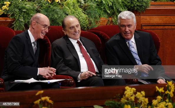 President Thomas Monson First Counselor Henry Eyring and Second Counselor Dieter Uchtdorf talk before the start of the second session of the 184th...