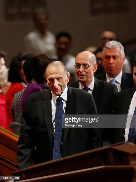 President Thomas Monson First Counselor Henry Eyring and Second Counselor Dieter Friedrich Uchtdorf enters the Conference Center for the start of the...