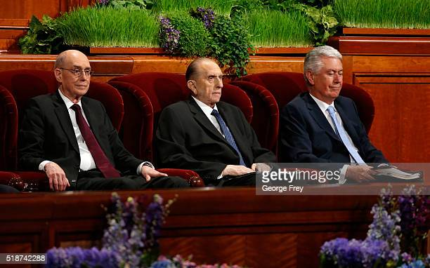 President Thomas Monson First Counselor Henry Eyring and Second Counselor Dieter Friedrich Uchtdorf wait for the start of the 186th Annual General...