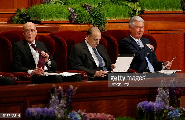 President Thomas Monson First Counselor Henry Eyring and Second Counselor Dieter Friedrich Uchtdorf go over their notes before the start of the 186th...