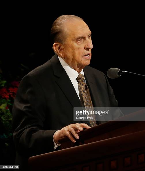 President Thomas Monson gives a talk at the 184th Semiannual General Conference of the Church of Jesus Christ of LatterDay Saints on October 4 2014...