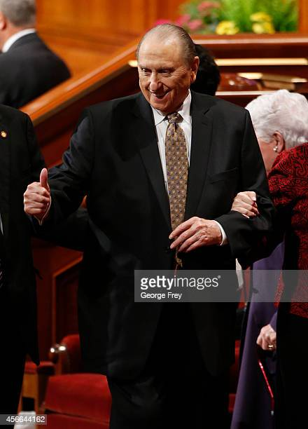 President Thomas Monson gives a thumbs up after the first session of the 184th Semiannual General Conference of the Church of Jesus Christ of...