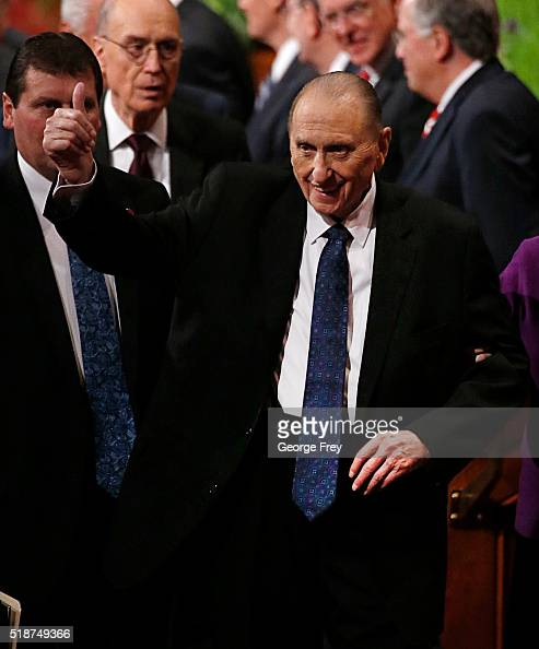 President Thomas Monson gives a thumbs up as he leaves the morning session of the 186th Annual General Conference of the Church of Jesus Christ of...