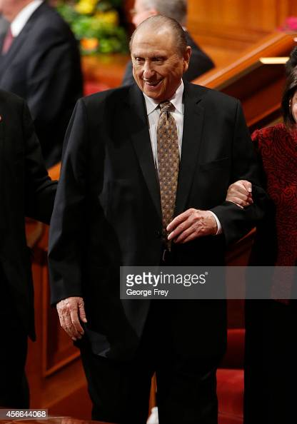 President Thomas Monson smiles as he leaves the first session of the 184th Semiannual General Conference of the Church of Jesus Christ of LatterDay...