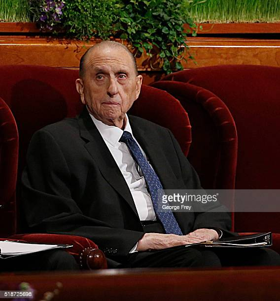 President Thomas Monson waits for the start of the 186th Annual General Conference of the Church of Jesus Christ of LatterDay Saints on April 2 2016...