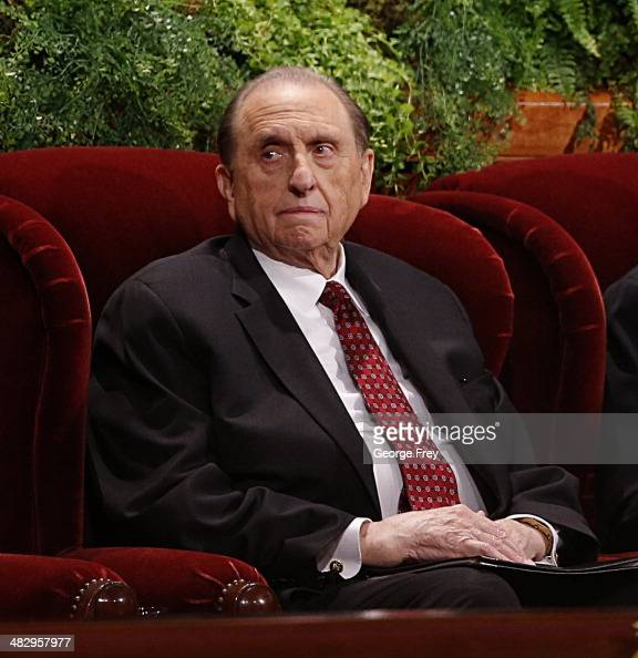 President Thomas Monson waits for the start of the second session of the 184th annual general conference of The Church of Jesus Christ of Latter Day...