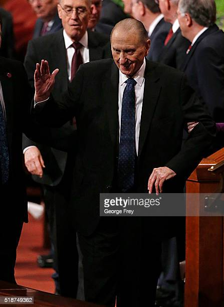 President Thomas Monson waves as he leaves the morning session of the 186th Annual General Conference of the Church of Jesus Christ of LatterDay...