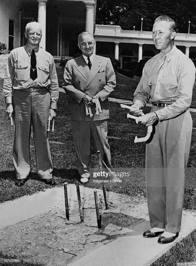 President Truman Pitching Horseshoes At Washington White House In Usa