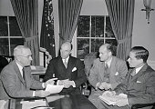 President Truman today received a progress report on preparations for the forthcoming meeting of the Council of Foreign Ministers in London Shown at...