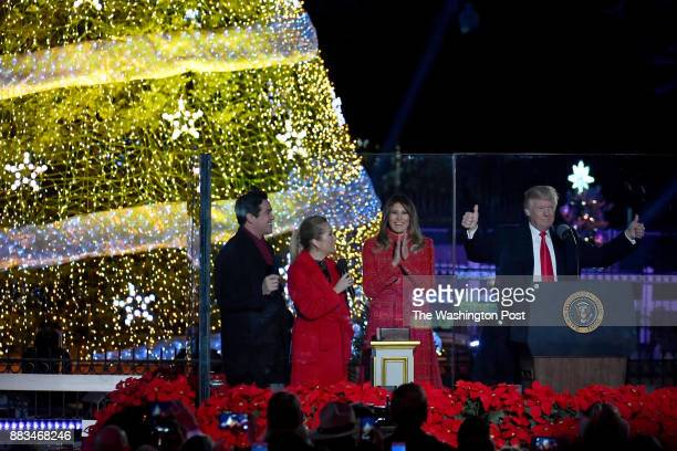 President Trump and first lady Melania Trump kick off the 95th annual National Christmas Tree Lighting with Dean Cain left and Kathie Lee Gifford on...