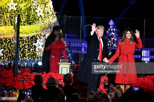 President Trump and first lady Melania Trump light the tree at the 95th annual National Christmas Tree Lighting on the Ellipse November 30 2017 in...
