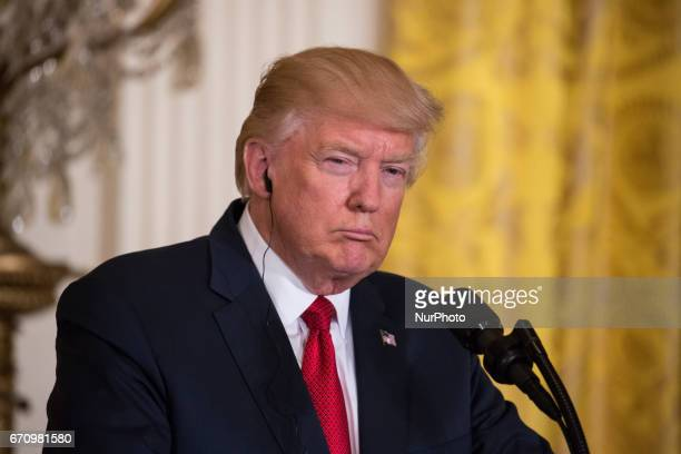 President Trump and Prime Minister Paolo Gentiloni of Italy held a joint press conference in the East Room of the White House on Thursday April 20...