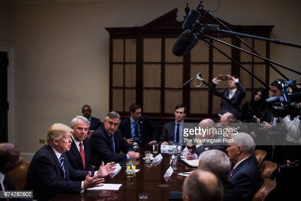 President Trump speaks during a meeting with pharmaceutical industry leaders in the Roosevelt Room of the White House in Washington DC on Tuesday Jan...