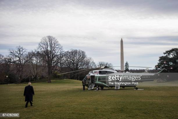 President Trump walks out to board Marine One and depart from the South Lawn of the White House in Washington DC on Friday Feb 03 2017 Trump is...